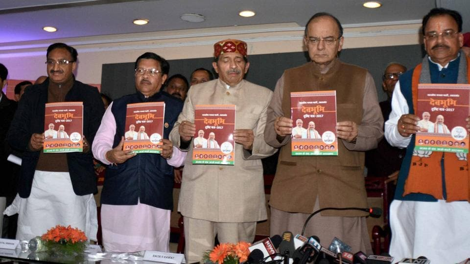 Finance minister Arun Jaitley along with BJP Uttarakhand president Ajay Bhatt, party incharge for the state Shyam Jaju and other leaders releasing the party's vision document in Dehradun on Saturday.