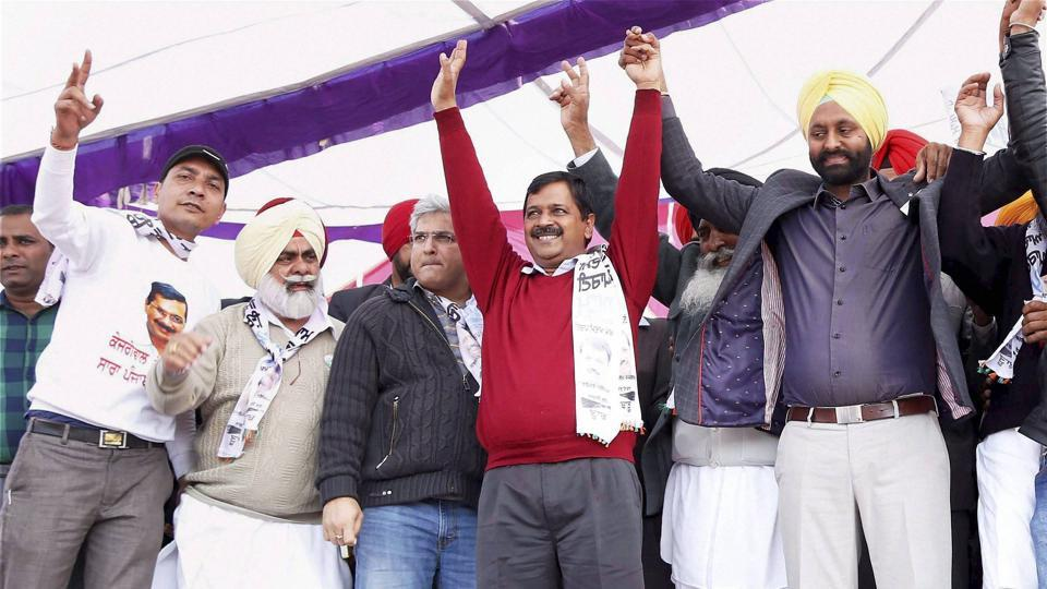 Aam Aadmi Party national convener and Delhi CM Arvind Kejriwal at a rally ahead of Punjab assembly election at Shahkot in Jalandhar on Wednesday.