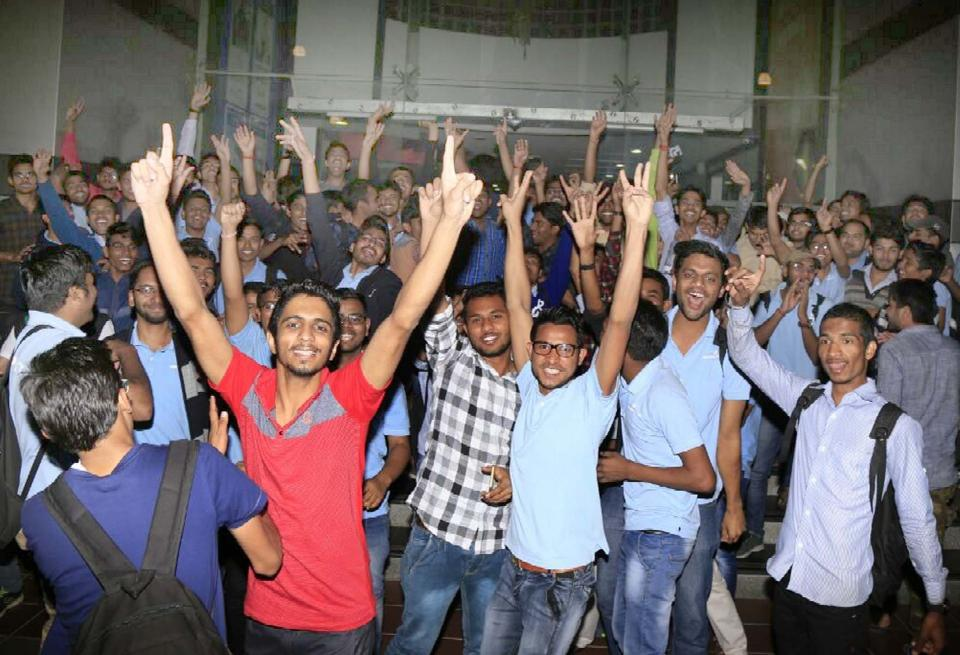 NEET aspirants in Kota celebrate after the CBSE issued a fresh guideline on Friday night allowing candidates to take the test irrespective of their previous attempts.