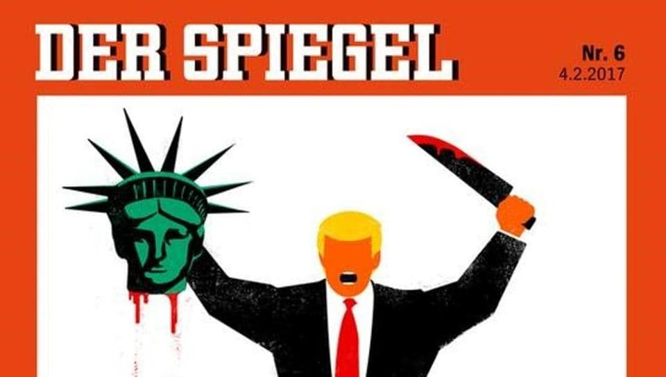 US President Donald Trump is depicted beheading the Statue of Liberty in this illustration on the cover of the latest issue of German news magazine Der Spiegel.