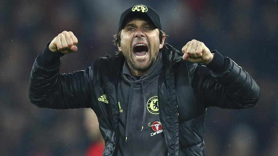 Chelsea's manager Antonio Conte celebrates at the final whistle of their Premier League match against Liverpool.