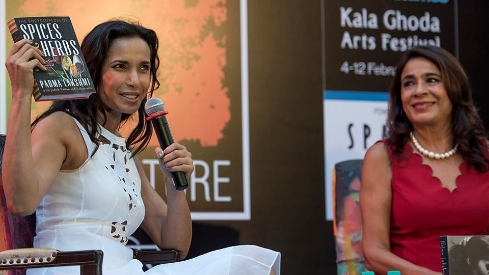 Author and TV host Padma Lakshmi reads an excerpt from her latest book at the festival. (Satish Bate/HT PHOTO)