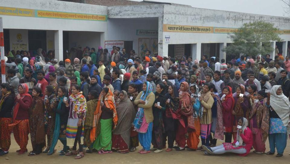 Long queues of voters outside polling booths were seen in Punjab even after 5pm, the official closing time for polling.