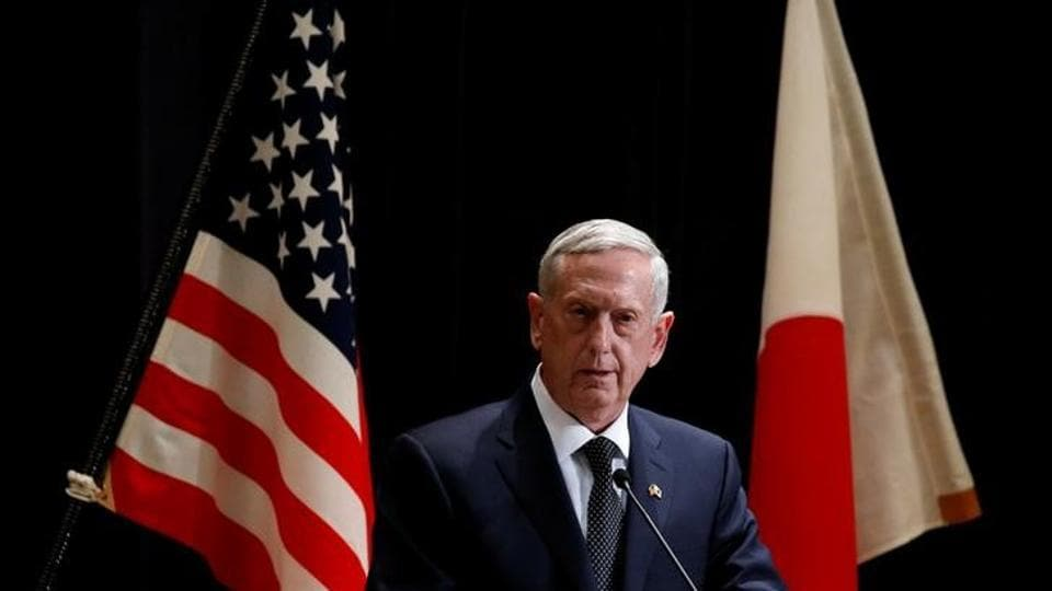 US defence secretary Jim Mattis speaks at a joint news conference with Japan's defence minister Tomomi Inada after their meeting at the defence ministry in Tokyo.