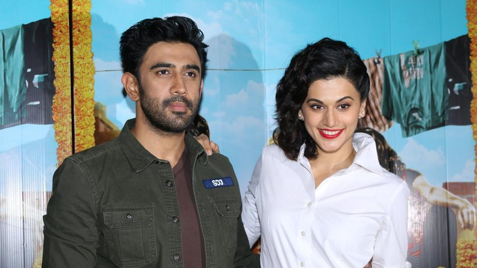 Amit Sadh and Taapsee Pannu during the press conference of film RunningShaadi.com in Mumbai.
