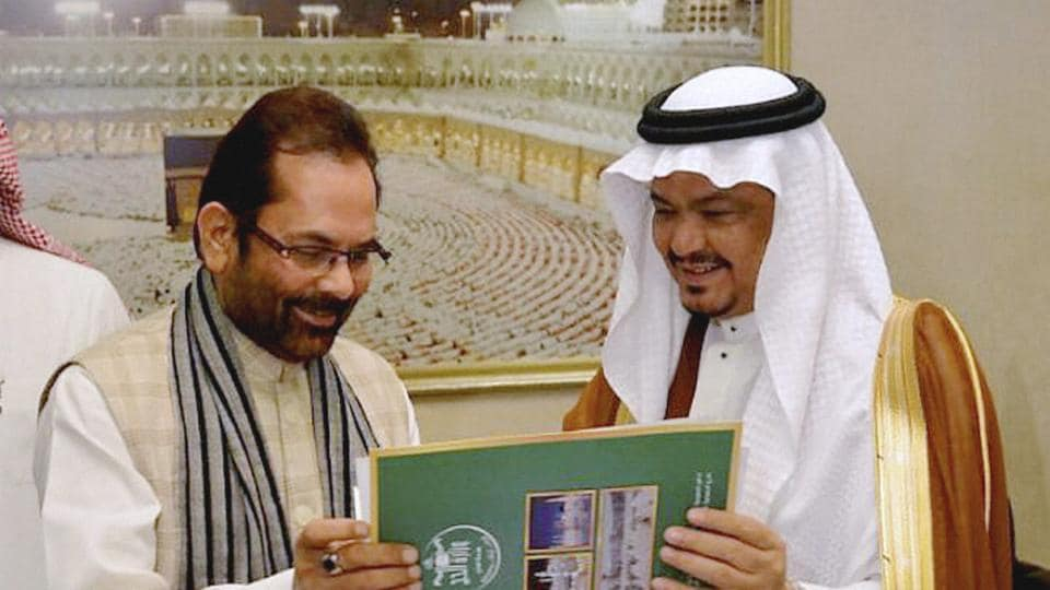 Union minister of state for minority Affairs (Independent charge) Mukhtar Abbas Naqvi while signing of bilateral Haj agreement between India-Saudi Arabia with Haj minister of Saudi Arabia , Mohammad Saleh bin Taher Benten at Jeddah (Saudi Arabia) in January.