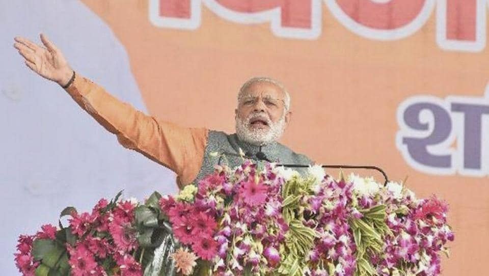Prime Minister Narendra Modi addresses the BJP Vijay Shankhnad Rally in Meerut on Saturday ahead of the state assembly polls.