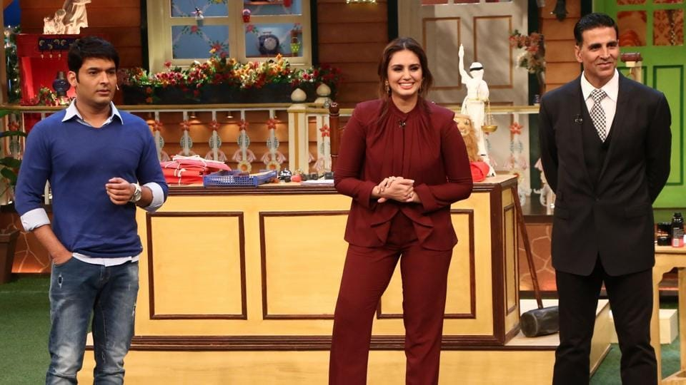 Mumbai: Stand-up comedian Kapil Sharma, actors Huma Qureshi and Akshay Kumar during the promotion of film Jolly LLB 2 on the sets of The Kapil Sharma Show in Mumbai. (IANS)