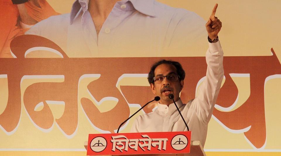 Shiv Sena president Uddhav Thackeray addressing the BMC election 2017 rally at Chira Bazaar in Mumbai on Saturday.