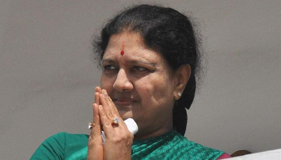 AIADMK general secretary Sasikala interacts with party district secretaries at party office in Chennai.