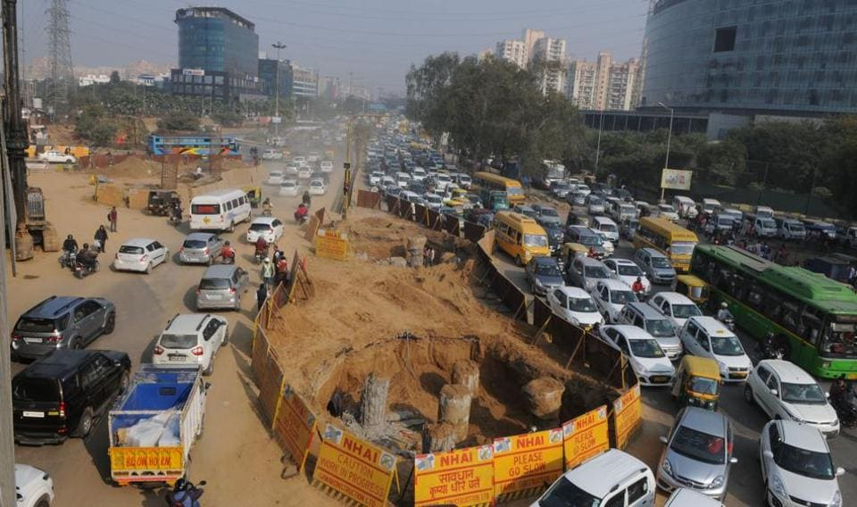 The ongoing construction of the underpass at Iffco Chowk. Three underpasses are being built on Delhi-Gurgaon expressway at Rajiv Chowk, Signature Tower and Iffco Chowk.