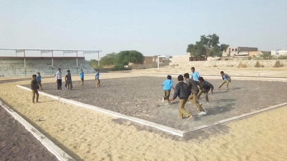 The stadium, constructed at Somesara village in Baitu block of Barmer district at a cost of ₹27.29 lakh, has facilities for basketball, volleyball, kho-kho and athletics.