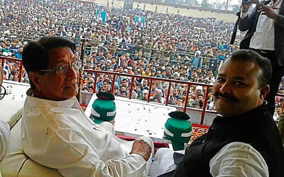 Ajit Singh at an election rally at Khatauli on Sunday.