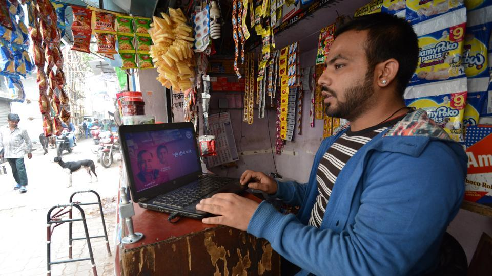 Indrajeet Ahujani with his laptop that has made him popular as DJ Wale Bhai.