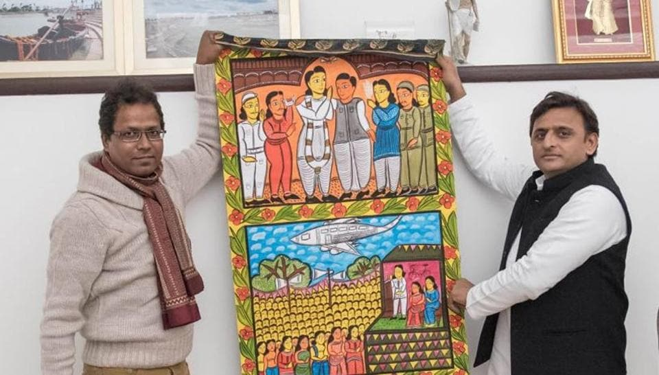 Mrinal Mondol the intermediary handed over the artwork to Akhilesh Yadav recently in Lucknow.