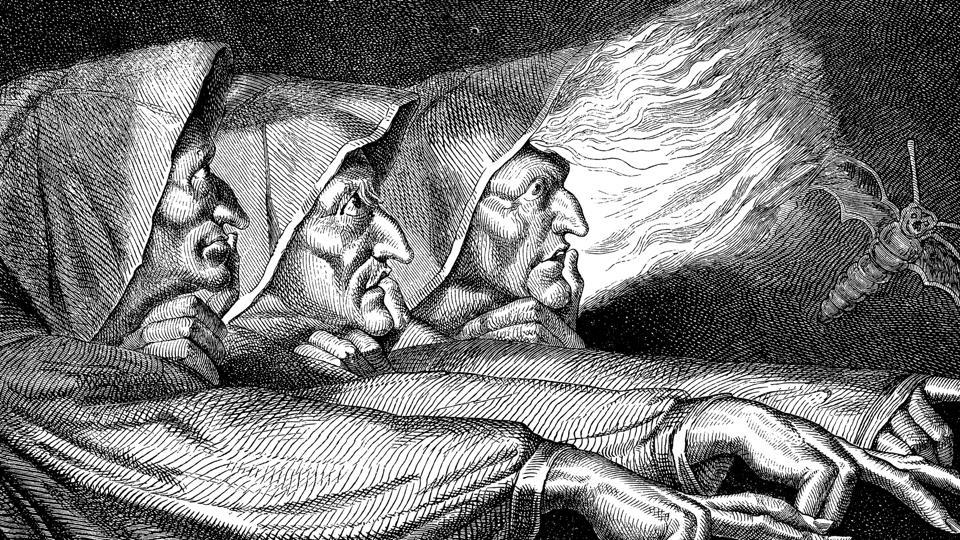 In Macbeth, these witches who 'hover through fog and filthy air' know the future and can tell/foretell events.