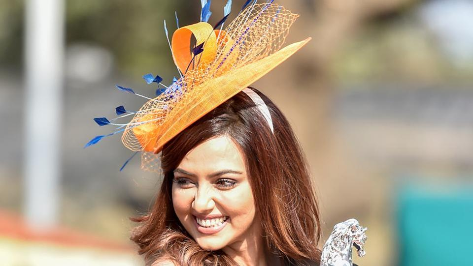 Indian actor Sana Khan during the derby. (Kunal Patil/Hindustan Times)