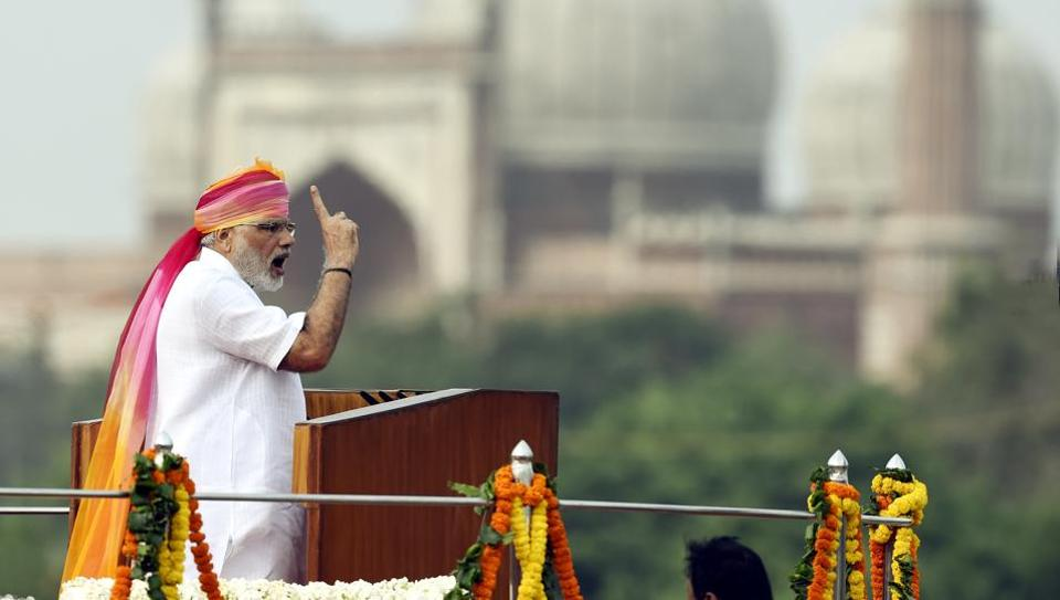 Prime Minister Narendra Modi addresses the nation on Independence Day last year.