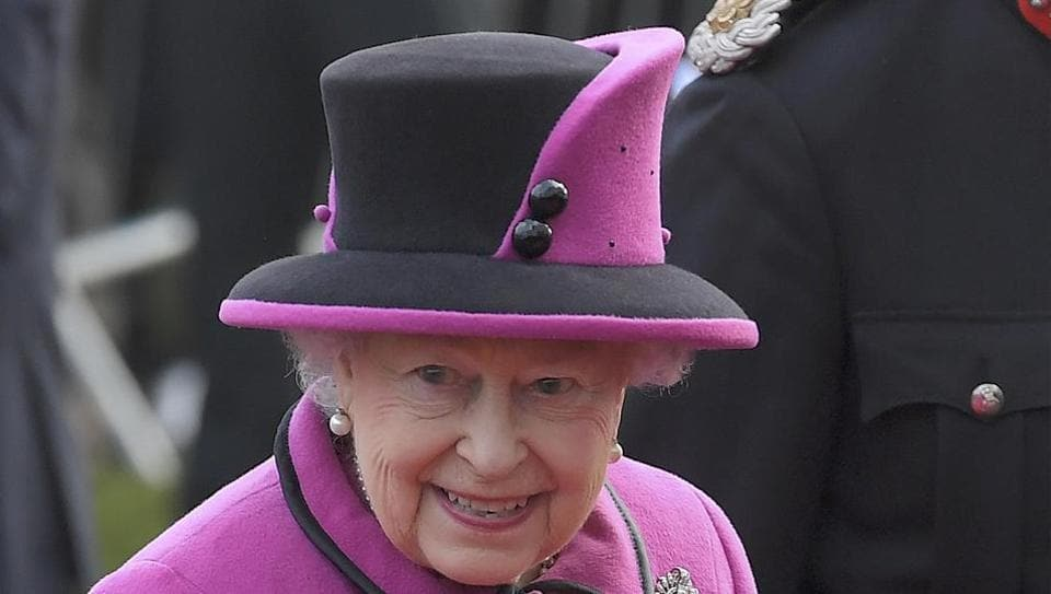 Britain's Queen Elizabeth arrives to view an exhibition on Fiji at the Sainsbury Centre for Visual Arts, University of East Anglia in Norwich, eastern England.
