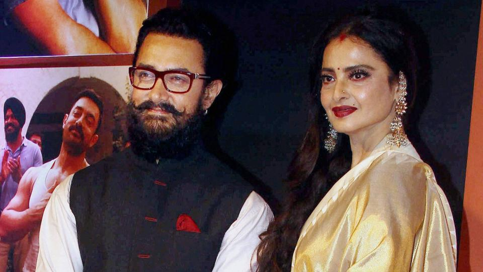 Bollywood actor Aamir Khan poses with Rekha during the success party of Dangal. The wresting biopic has made more than Rs 380 crore at the box office. (PTI)