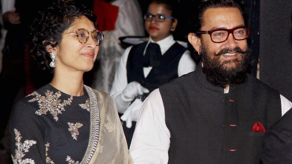 Bollywood actor Aamir Khan along with his wife Kiran Rao during the success party of  Dangal. (PTI)