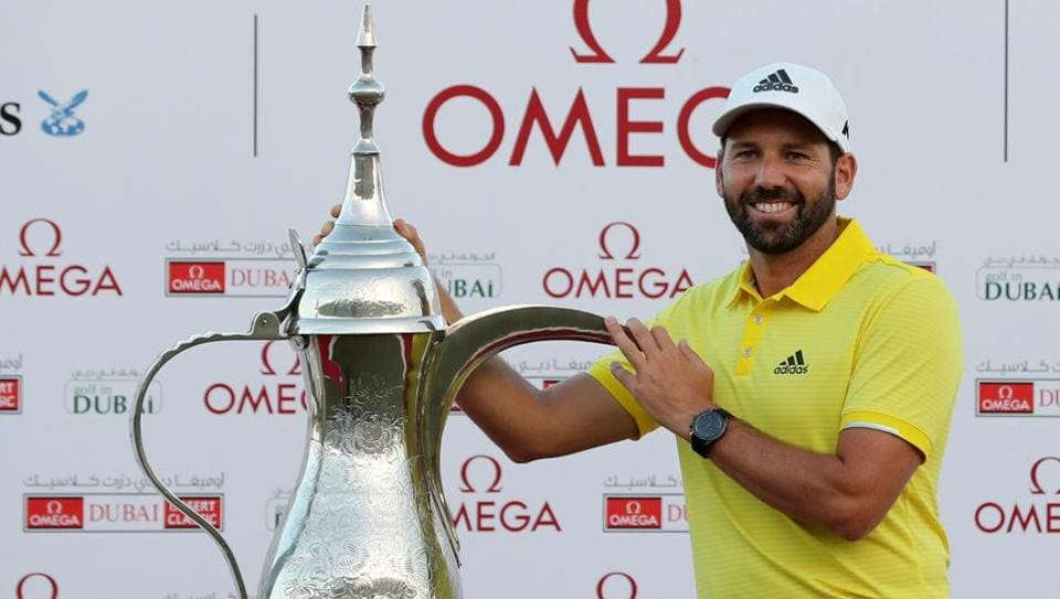 Sergio Garcia of Spain poses with the trophy following the final round of the Omega Dubai Desert Classic.