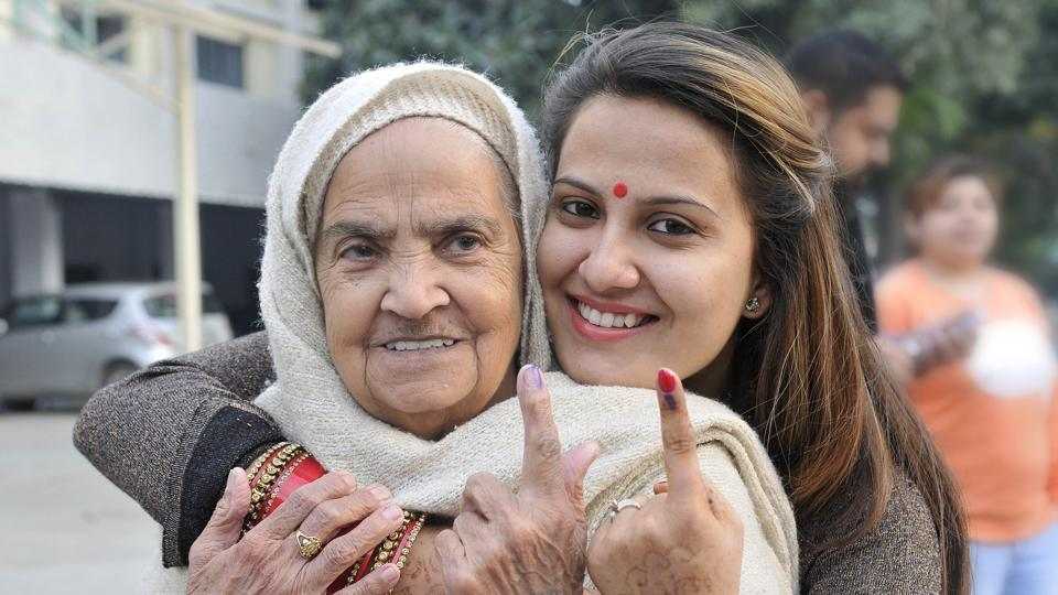 A woman and her grandmother after casting their votes in Ludhiana on Saturday.