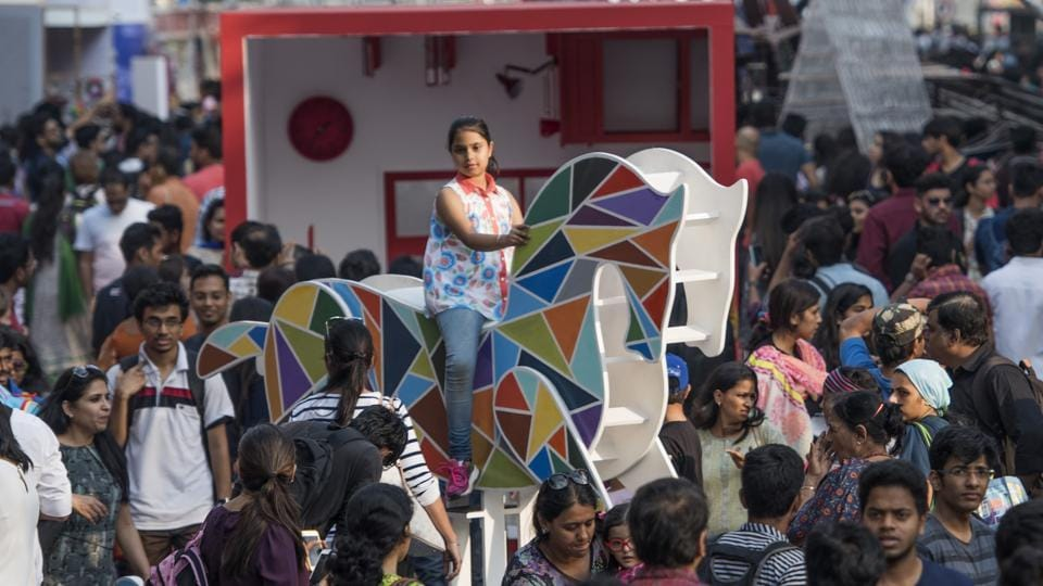 Visitors relive their childhood through the various installations at the HT Kala Ghoda Arts Festival in Mumbai on Saturday.