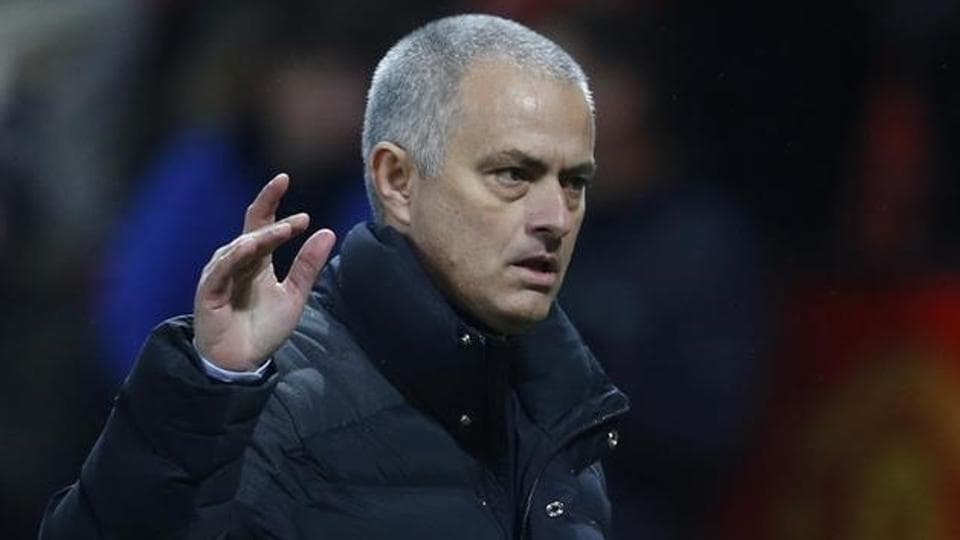 Manchester United FCmanager Jose Mourinho gestures to the fans at the end of the Premier League match.