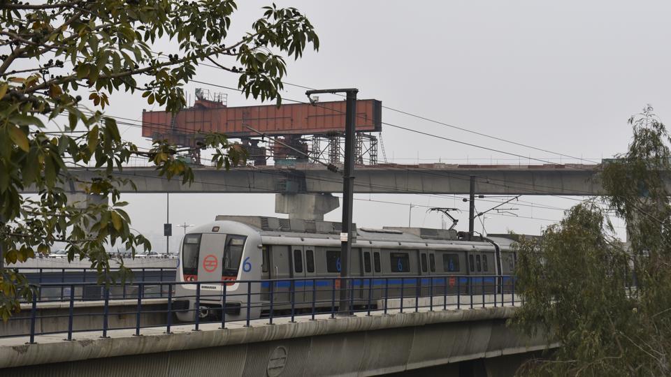 Construction work of the Mukundpur– Shiv Vihar line in progress near Mayur Vihar Metro station on Sunday.