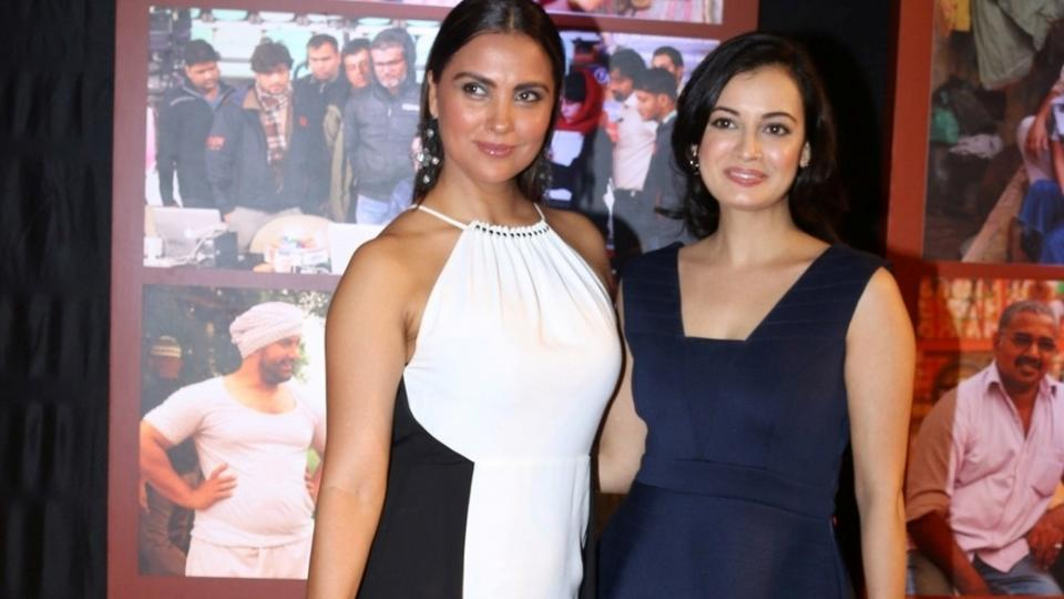 Actors Lara Dutta and Dia Mirza arrive for the success party of the sports biopic Dangal. (IANS)