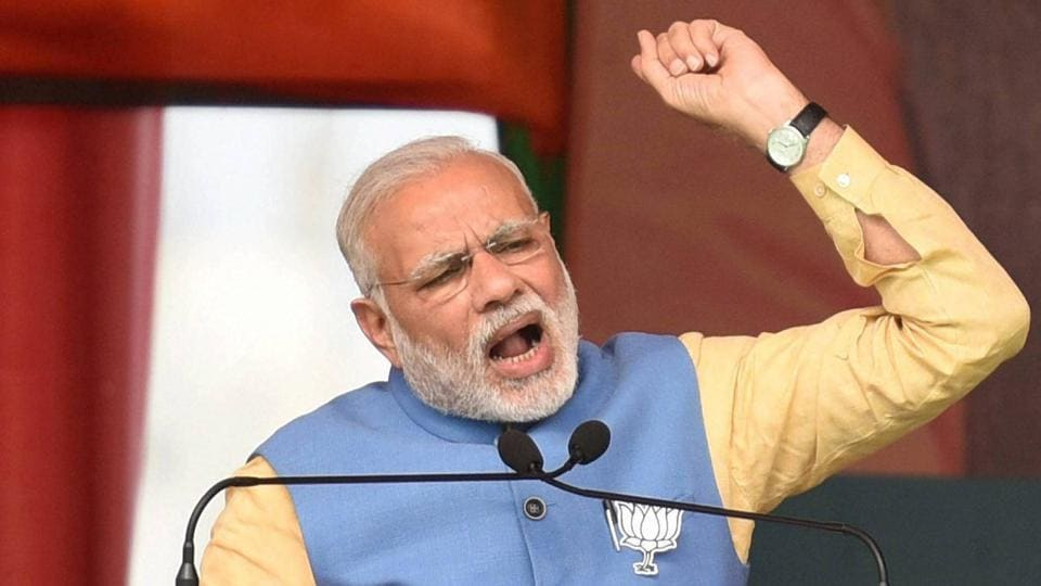 Prime Minister Narendra Modi addresses an election rally in Aligarh on Sunday. The rally drew huge crowd with BJP workers pouring in from all sides.