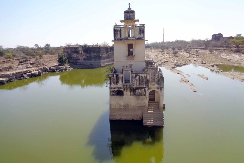 The palace where  Allauddin Khilji is said to have seen Padmavati's reflection in water.