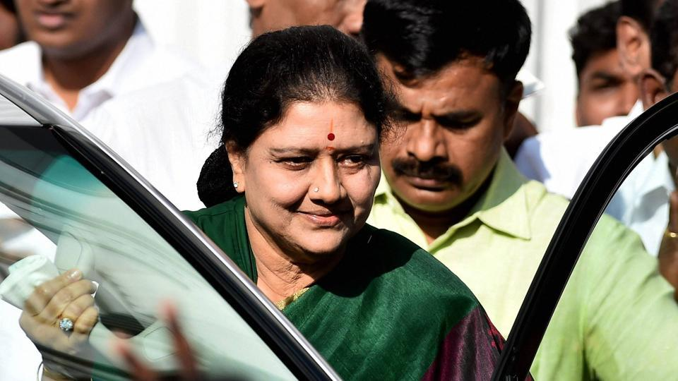 AIADMK general secretary VK Sasikala at party's Headquarters in Chennai on Sunday, after the meeting in which was elected as AIADMK legislative party leader. She is set to become Tamil Nadu chief minister .