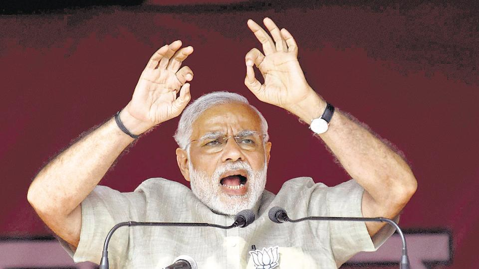 Prime Minister Narendra Modi addresses during an election rally in Hajipur on Sunday.