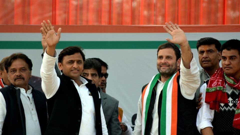 Samajwadi Party national president Ahilesh Yadav with Congress vice-president Rahul Gandhi during the joint rally at the GIC ground in Kanpur on Sunday.