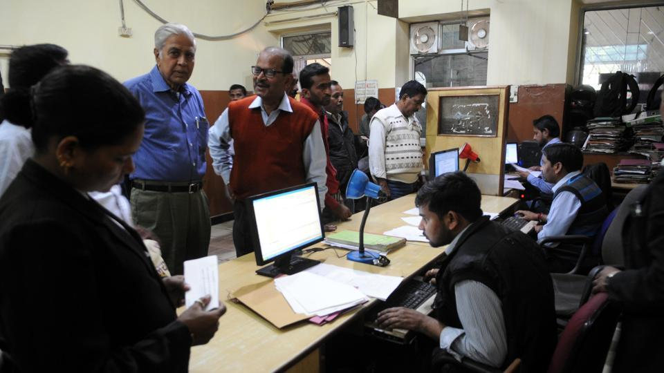 People gathered to do the formalities of registry of their properties at state Registry office in Ranchi on Saturday