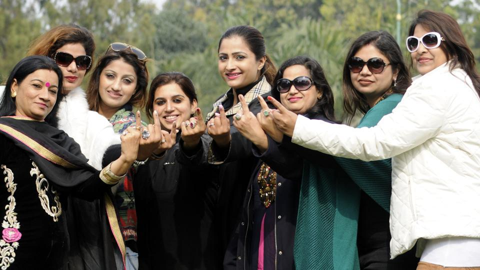 Women voters after casting their vote in Patiala on Saturday.