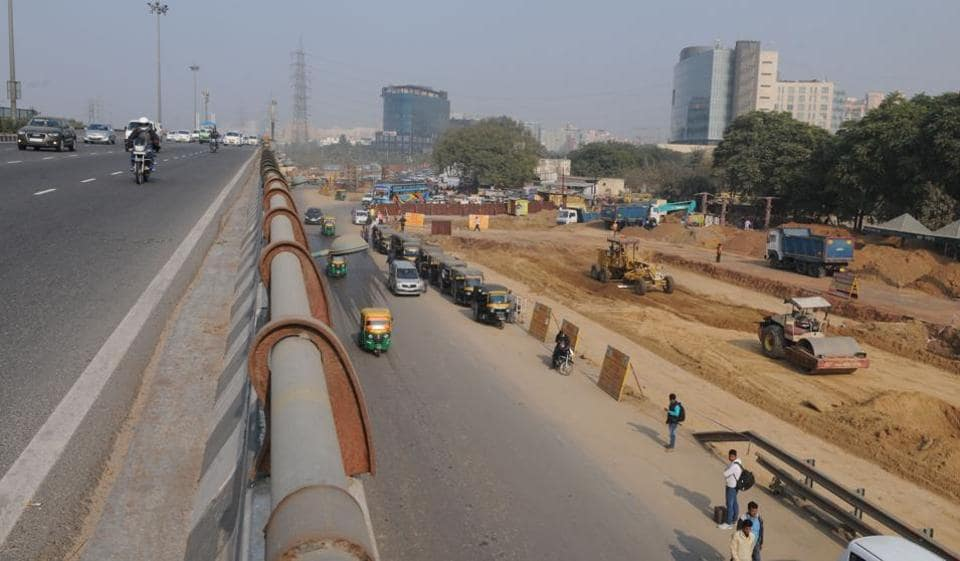 Amidst the traffic chaos, any construction work is bound to disrupt the flow of traffic at Iffco Chowk.