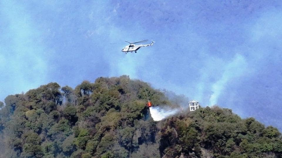 Airforce Choppers and Army helps combat forest fire at Tinjurey Ridge