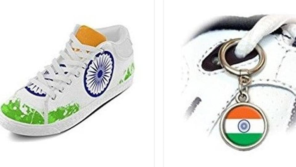 Amazon's United States arm sells shoes and shoe lace metal hoops bearing a likeness to the Indian tricolour.