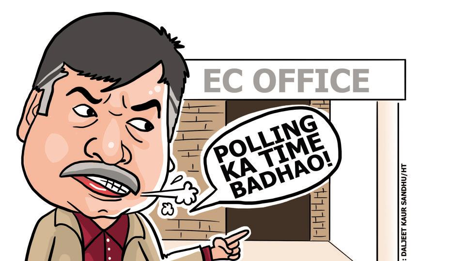 The AAP leader had reached the EC office just 15 minutes before the polling was to end and accused the EC of taking away people's rights. He then gave the usual bytes to television channels whose crews were stationed there.