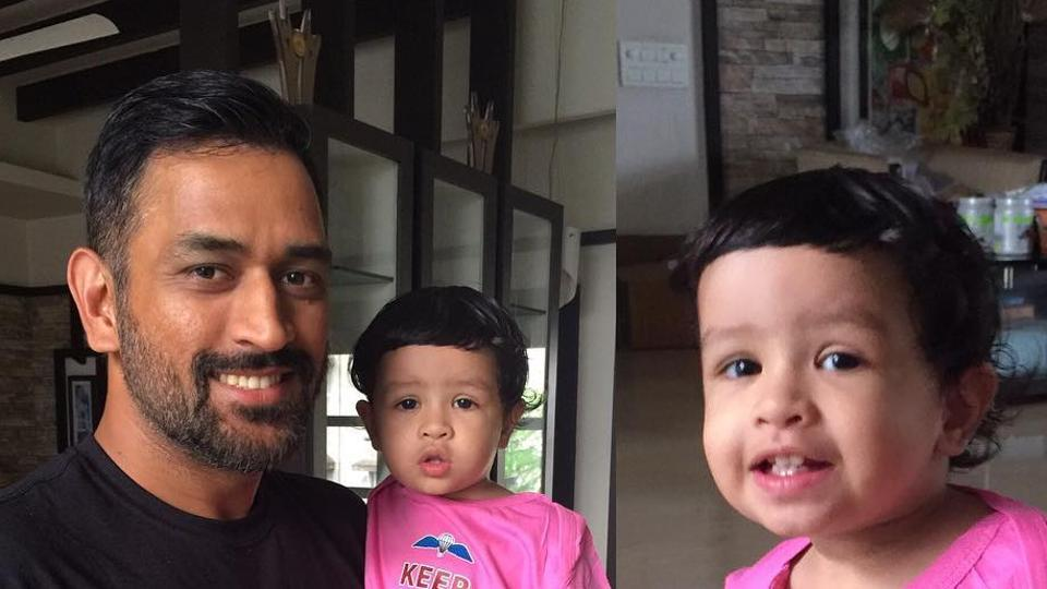 MS Dhoni, former Indian cricket team captain, with daughter Ziva.