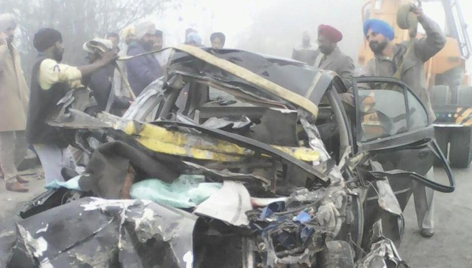 Photo of the car after collision with a bus at Ferozepur district's Harike town on Monday morning.