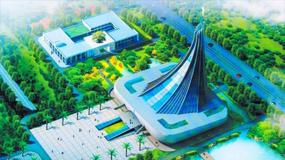 Blueprint of Xingsha Ecological Park, with the Xingsha Church in the middle of the park.: So far the largest Christian theme park in Southern China.