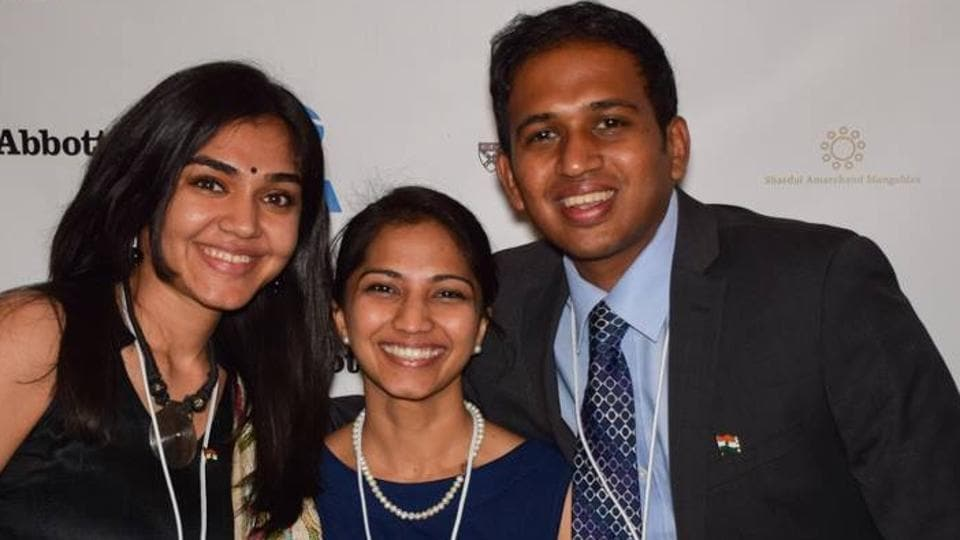 Rahul Srinivasan, co-chair India Conference at Harvard (right) and volunteers have been raising funds, writing to speakers and securing confirmations for the event.