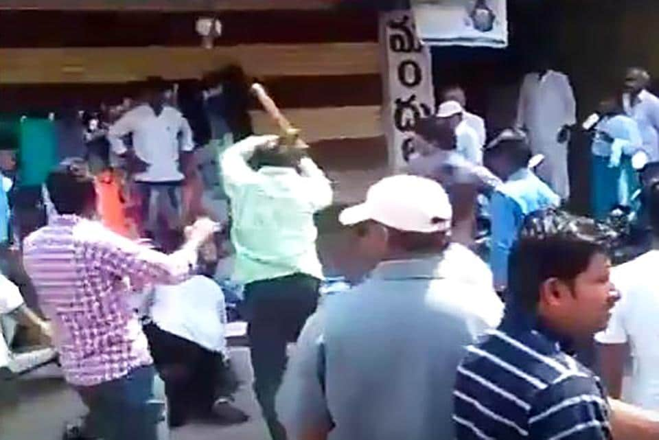 A still from the video, where a journalist was beaten up by an MLA's kin.