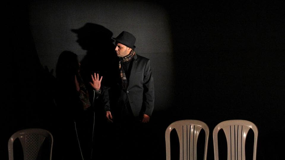 Artists perform a play titled 'The Struggler' at Fort in Mumbai on Sunday. (Ht photo)