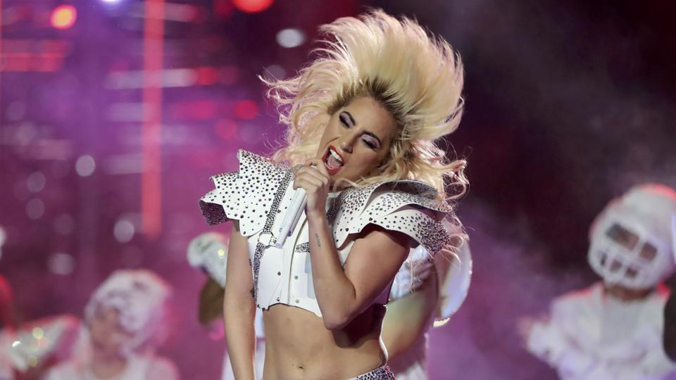 Singer Lady Gaga performs during the halftime show at Super Bowl LI between the New England Patriots and the Atlanta Falcons in Houston, Texas.