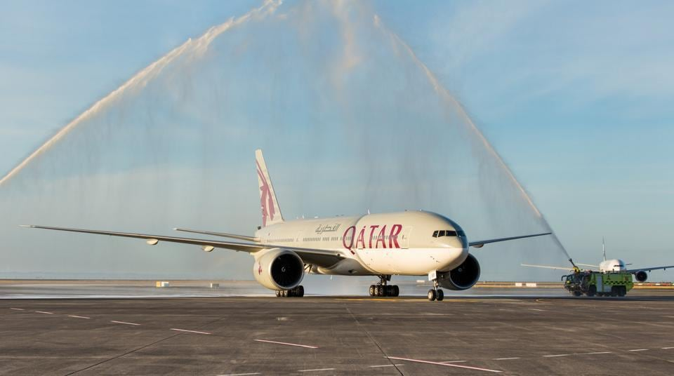 Auckland Airport welcomes the first Qatar Airways flight with a traditional water cannon salute on February 6, 2017.